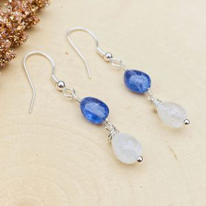 Tanzanite and Moonstone Gemstone Sterling Silver Dangle Earrings for Sale in King of Prussia, PA