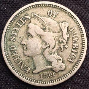 1868 3 Three Cent Nickel Piece - Higher Grade! for Sale in Geneva, IL