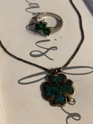 LUCKY Sterling Silver 4 leaf clover necklace and Ring for Sale in Wauwatosa, WI