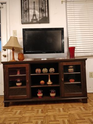 Like new wooden modern big TV stand for big TVs in great condition, you can adjustable all shelves, let me know when yo for Sale in Annandale, VA