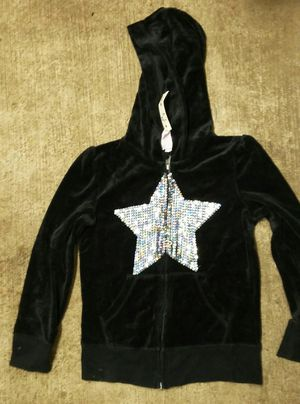 Girls black velour size medium zip up hoody for Sale in McCleary, WA