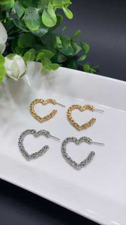 2 Sets Open Heart Stud Earrings Gold Plated, Gold and Silver Color for Sale in Los Angeles,  CA