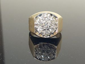 Mens 14k yellow gold 1.5ct diamond wedding band ring 17.8 grams size 11 for Sale in Fort Pierce, FL