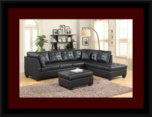 Black sectional with ottoman for Sale in Bowie, MD