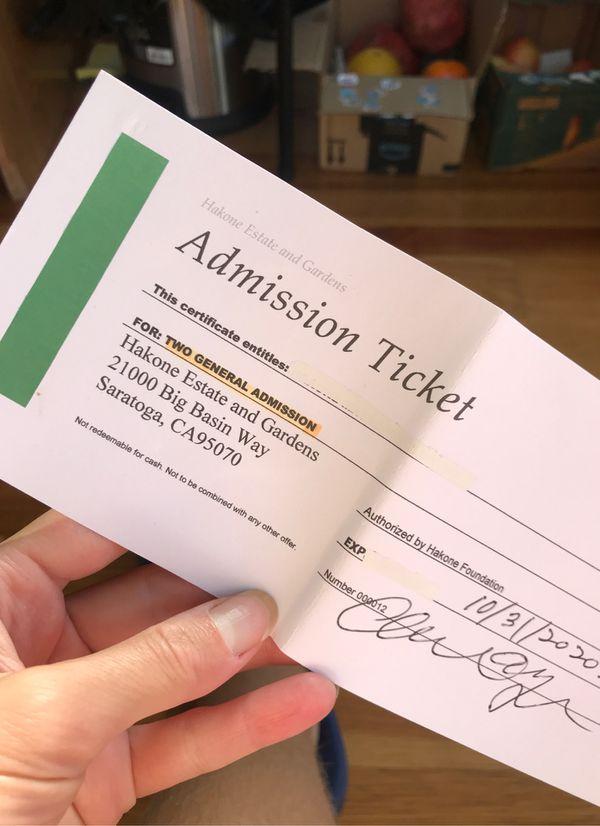 2 general admission tickets Hakone Estate and Gardens