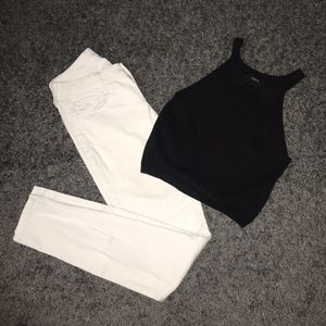 Decree white Pants and Forever 21 blk crop top for Sale in Fresno, CA