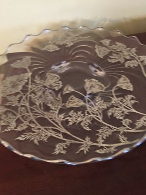 Glass Platter Endossed with Silver Flowers for Sale in Lakewood Township, NJ