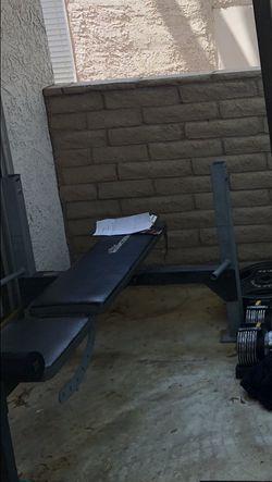 Bench Press , Curlbar , Weights 45 Ibs 35Ibs 25Ibs 5Ibs for Sale in Las Vegas,  NV