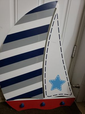 Sailboat nautical wall with 3 hooks for Sale in Phoenix, AZ