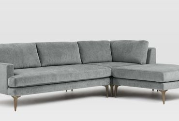 Andes 3-Piece Chaise Modern Sectional Gray Velvet from West Elm for Sale in Portland,  OR