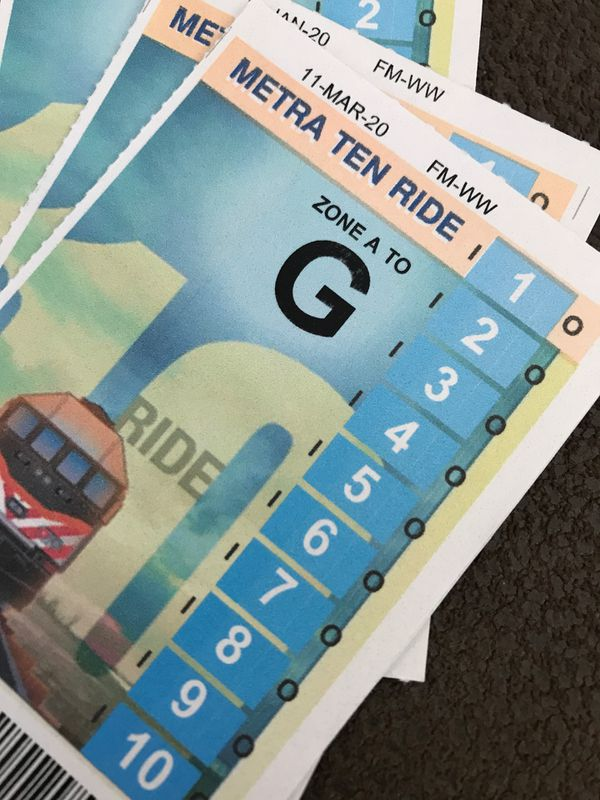 10 ride metra ticket for zone A to G(route 59 to union station)