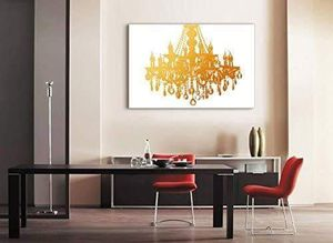 ((FREE SHIPPING)) Canvas wll art - golden glittering chandelier on white background - giclee print and stretched ready to hang Painting like print for Sale in Palo Alto, CA