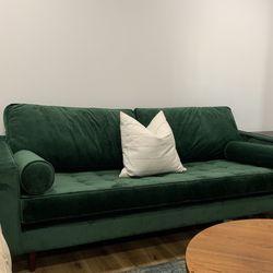 Mid Century Modern Green Velvet Sofa for Sale in Pittsburgh,  PA