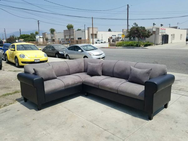 NEW 7X9FT CHARCOAL MICROFIBER SECTIONAL COUCHES
