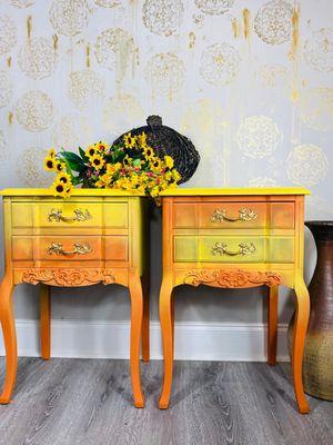 READ DESCRIPTION:Vintage end tables/ repurposed furniture/ French provincial Nightstands/ end tables/ bedside tables for Sale in Dalton, GA