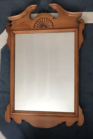 Maple colored pediment wall mirror for Sale in Watertown, MA