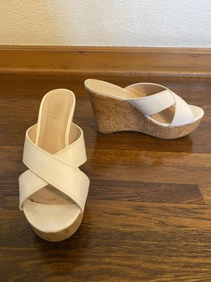 Cathy Jean white wedges comfortable shoes heels for Sale in Glendale, CA
