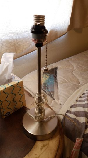 Silver lamp w/pull switch no shade for Sale in Phoenix, AZ