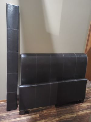 Queen size dark brown leather bed frame $60 obo for Sale in Des Moines, IA