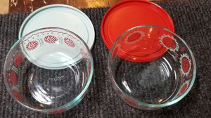 Christmas Pyrex, Tealight Scent Burner, Leaf Dish, and Trio of Glass Candle Holders for Sale in Allen Park, MI