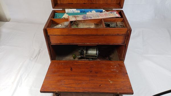 Vintage Cherry Wooden Tackle Box Assorted Fishing Lures Weights Reel etc