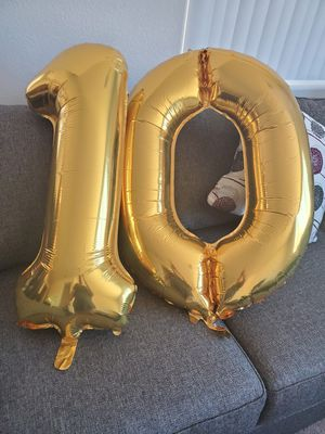 Number 10 gold balloons. for Sale in Fresno, CA