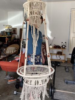 Large Mid Century Macrame Hanging Table for Sale in Renton,  WA