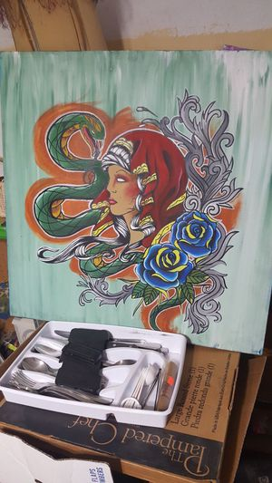 505 skull canvas painting for Sale in Phoenix, AZ