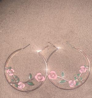Cute Rose Hoop Earrings 🌹 for Sale in US
