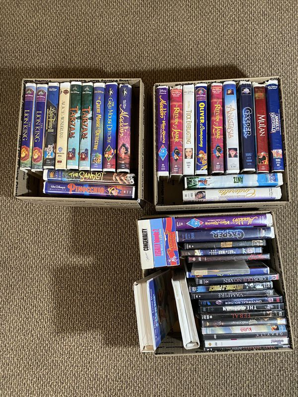 3 Boxes of Disney VHS' and Movies (BLACK DIAMOND CLASSICS)