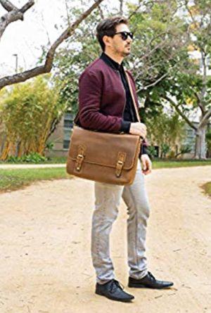 """Viosi Mens RFID Buffalo Leather Messenger Bag 16"""" Laptop Briefcase Shoulder Bag for Sale in Sacramento, CA"""