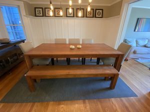 """Crate & Barrel 87"""" Teak Dining Table, Bench and 5 Room& Board Dining Chairs for Sale in San Francisco, CA"""
