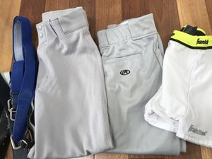 2 pair of Boys Lge grey Baseball Pants Jock and Belts for Sale in Millersville, MD