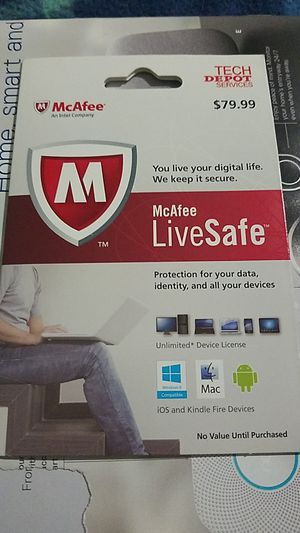 McAfee live safe 1 year subscription for Sale in Durham, NC