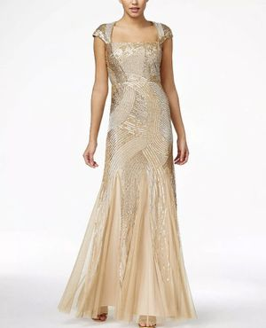 Prom Dress (Adrianna Papell Gold Beaded Sequin) for Sale in Calexico, CA