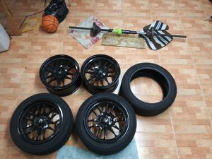 17x8 Cosmis black rims and 3 tires with only 300 miles for Sale in Miami Gardens, FL