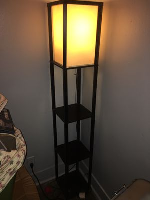 Brown wood lamp and shelves for Sale in Austin, TX
