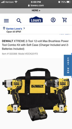 DEWALT XTREME 2-Tool 12-volt Max Brushless Power Tool Combo Kit with Soft Case (Charger Included and 2-Batteries Included) for Sale in Highland, CA