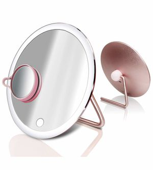 Lighted Makeup Mirror with Extra 3X Magnifying Vanity Small Mirror, Portable Rechargeable Light Up Mirrors, One Touch Screen Switch, 180 Degree Rotat for Sale in Quitman, TX