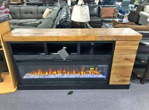 ⚓⚓Best OFFER ⚓ $39 Down Payment  Tonnari Two-tone Brown XL TV Stand with Wide Fireplace Insert | W715-68 229 for Sale in Jessup, MD