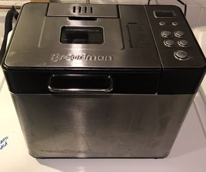 Breadman bread maker stainless steel with cook book for Sale in Brook Park, OH
