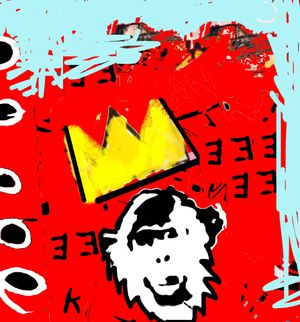 3FT Wall Street POP Art Canvas Painting Graffiti Urban Abstract Acrylic Collage Wood Frame Cotton Panel Ape yellow gold crown for Sale in Palm Beach Gardens, FL