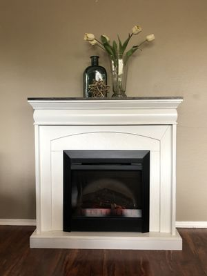 Refinished rustic farmhouse electric fireplace tv stand for Sale in Glendale, AZ