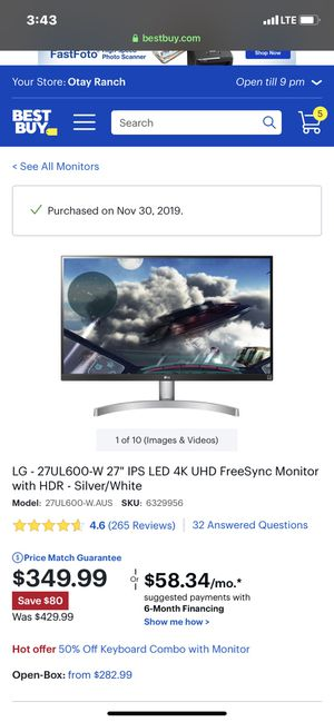 """LG 27"""" 4K Monitor for Sale in San Diego, CA"""