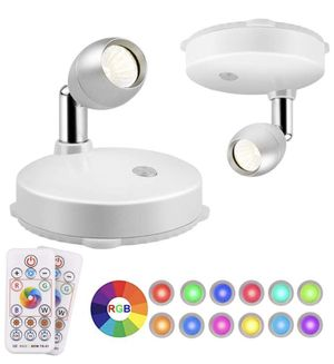 Brand new RGB LED Spotlight, Prosperbiz Battery Operated Accent Lights, Wireless LED Puck Light, Dimmable Uplight with Remote, Stick on Anywhere for for Sale in Walnut, CA