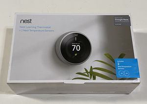 Google Nest Learning Thermostat 3rd Gen in Stainless Steel and Google Nest Temperature Sensor (2-Pack) BH1252-US for Sale in Garden Grove, CA