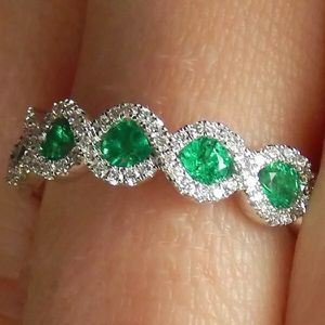 Sterling Silver Green and Pave Zircons Ring for Sale in Woodbridge, VA