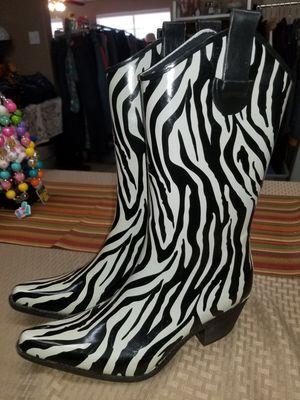 Women's Zebra Rain Boots Size 7 for Sale in Pasadena, TX