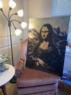 Large Orignal art Monalisa painting in different style of texture,in Gold and metalic Acrylics for Sale in Danbury, CT