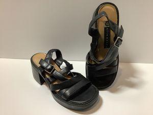 "Vintage Ellemenno Black Leather 6"" Block Heel Adj Strappy Sandals Women's Sz 5.5 for Sale in Westminster, CO"